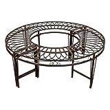 Design Toscano Baum-Rundbank, Ornamentale Gartenbank aus Metall