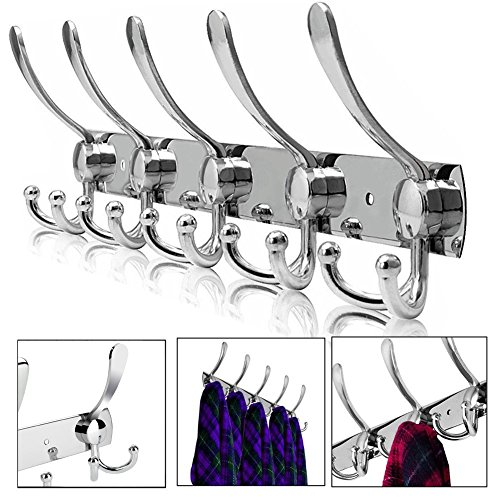 Hakenleiste Kleiderhaken Edelstahl Rostfrei Wandgaderobe Handtuchhaken Wandhaken Bademantelhaken Mantelhaken Bad Haken Handtuchhalter Gebürstet ca. 30kg Belastbar 5 Doppelhaken