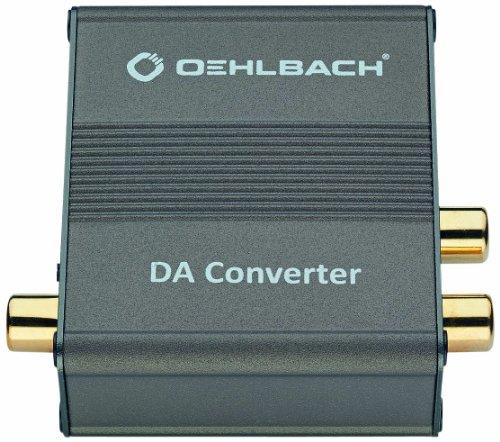 Oehlbach DA Converter | Digital/Analog Audiowandler | Koaxial/Optisch, R-L/Klinke | Cirrus Logic Chip, Metallic Braun