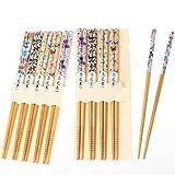 10 Paar Japanische EssstäBchen Bambus Chopsticks Wiederverwendbare NatüRliche EssstäBchen 22.5 cm Bunter Schmetterling C13