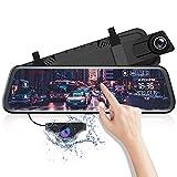 AZDOME 10' Autokamera mit Rückfahrkamera, Touchscreen Dash Cam mit Streaming Media und Loop-Aufnahme, 1080P Rückspiegel Dashcam mit Parkhilfe und ADAS, Rueckfahrkamera mit Nachtsicht(PG02)