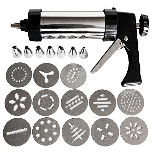 Kurtzy 22 tlgs Edelstahl Gebäckpresse Set - Kuchen Dekorieren Werkzeuge mit Garnierspritze, Glasur Spritztüllen & Ausstecher Scheiben - Gebäckspritze - Tortenspritze - Kekspresse