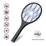 AUZKIN Elektrische Fliegenklatsche Moskito Bug Zapper Insektenvernichter,USB wiederaufladbar mit LED Beleuchtung & Abnehmbaren Taschenlampe,3-Schicht Mesh Schutz