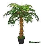 Palme Palmenbaum Königspalme Cocospalme Kunstpflanze Kunstbaum Künstliche Pflanze 140cm Decovego