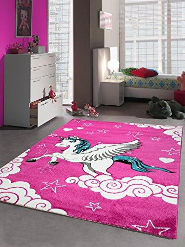 Kinderteppich Spielteppich Mädchen Einhorn Pink Größe 80x150 cm