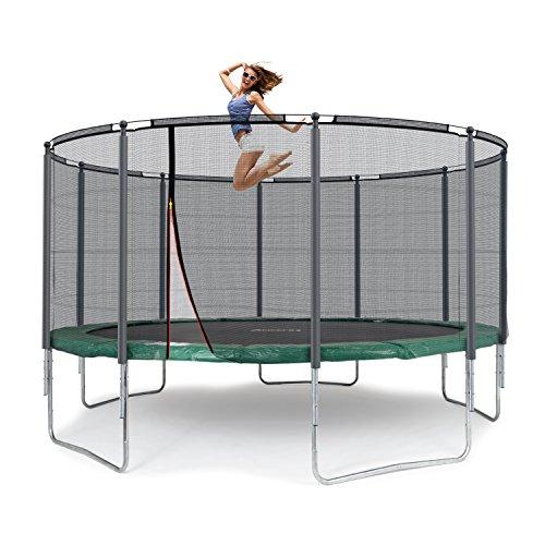 Ampel 24 Outdoor Trampolin Ø 430 cm Grün | Komplett mit Außenliegendem Netz | Gartentrampolin mit 10 Gepolsterten Stangen | Sicherheitsnetz mit Stabilitätsring | Belastbarkeit 160 kg