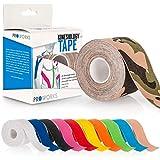 Proworks Kinesiologie Tape [5cm x 5m Rollenlänge] Tape für Muskeln und Gelenke [Wasserfest] für Training, Physiotherapie und Schmerztherapie Camouflage Grün