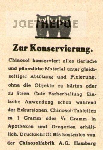 1949 - Anzeige / Inserat : CHINOSOL / ZUR KONSERVIERUNG - Format 45x65 mm - alte Werbung / Originalwerbung/ Printwerbung / Anzeigenwerbung