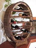 DanDiBo Weinregal Weinfass aus Holz für 24 Flaschen Braun gebeizt Bar Flaschenständer Weinständer Fass Regal