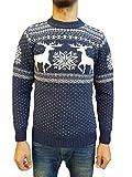 Raff&Taff Herren Strickpullover Sweater Hoodie Wollpullover | M - 5XL | Norweger Island Pullover Weihnachten Winter (Dunkelblau Hirsch, 56)