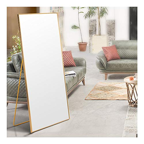 AUFHELLEN Standspiegel mit Golden Metallrahmen 140x40cm HD Groß Ganzkörperspiegel mit Haken für Wohnzimmer oder Ankleidezimmer