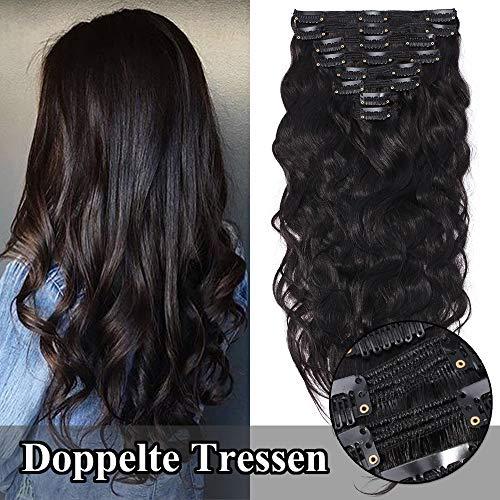 TESS Clip in Extensions Echthaar guenstig Haarverlängerung Doppelt Tressen für komplette Haarextension 8 Teile 18 Clips Gewellt 7A Dick Hair (45cm-140g, 1B Naturschwarz)