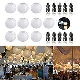 10er Papierlaterne 15cm weiß Lampions + 10er Warmweiße Mini LED-Ballons Lichter, rund Lampenschirm Hochtzeit Party Dekoration Papierlampen 6'