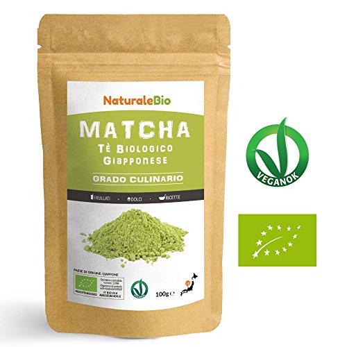 Matcha Tee Pulver Bio [ Cooking-Qualität ] 100 GR | Original Green Tea aus Japan | Japanischer Matcha Ideal zum Smoothies – Shakes - Latte | Tee hergestellt in Japan Uji, Kyoto | NATURALEBIO