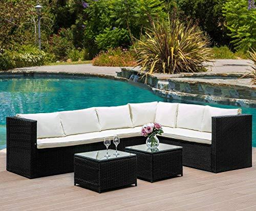 Merax Rattan Lounge Möbel Set Outdoor Polyrattan Gartenmöbel Set 6-Sitzer Eckofa Terrasse Set Sitzgruppe Balkon möbel Garnitur mit Abnehmbare Kissen & Gehärtetem Glas Tischplatte