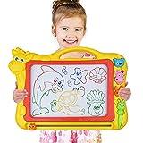 Magnetisches Zeichenbrett - Große (43 x 30 x 5 cm) Kinder Zaubertafel Doodle Board Pad Bunt Zeichenbrett mit 3 Magnetische Stempel Zaubertafeln für Kinder ab 3 4 5 6 7 Jahre Alt