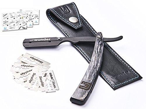 Präzises Premium-Rasiermesser + Einfache Anleitungen + Echtleder-Etui zum Reisen + Hochwertige Ersatzklingen | urwunder Beardo | Ideal zum Rasieren