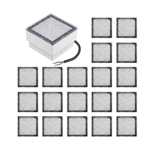 parlat LED Pflasterstein Wegbeleuchtung CUS, 10x10cm, 230V, warm-weiß, 20 Stk.