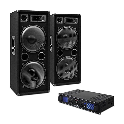 DJ SET DJ-20 PA-Verstärker 2x PA-Box 1x Mikro inkl. Kabel Set (USB-SD-Slot, 2000 Watt Verstärker, 1000 RMS Full Range Lautsprecher) schwarz