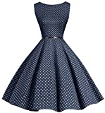 Bbonlinedress 50s Retro Schwingen Vintage Rockabilly kleid Faltenrock Navy Small White Dot M