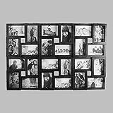 24 Fotos Bilderrahmen Fotorahmen Fotocollage Collage Fotogalerie Bildergalerie (Schwarz)