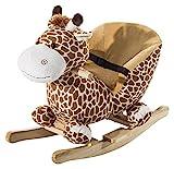 Homcom Schaukelpferd Kinder Schaukeltier Plüsch Schaukel Pferd Baby Schaukelspielzeug Geschenk für Kinder (Schaukelgiraffe)