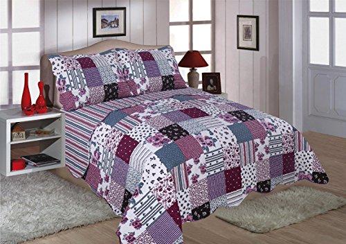 Restmor Tagesdecke Steppdecke mit Quilt Patchwork Design, Zweiseitig - Gesteppter Bettüberwurf - Erhältlich in 3 Größen mit Kissenbezug - Freya (Double inkl. 2 Kissenbezüge)