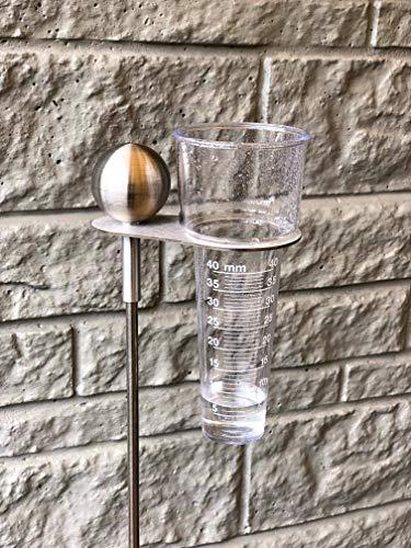 Regenmesser 2.0 aus Edelstahl und Kunststoffeinsatz, 125cm hoch