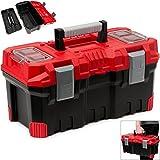 Werkzeugkasten leer | Kunststoff | Abschließbar | Klickverschlüsse | Antirutsch Griff | viele Unterteilungen - Werkzeugkiste Werkzeugbox Werkzeugkoffer Montagekoffer