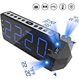 Projektionswecker mit Temperaturanzeige,Digitaler FM Radiowecker Uhrenradio Wecker USB Ladeanschluss Snooze Funktion mit Dimmer großen Bildschirm