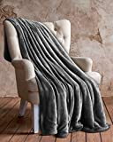 Utopia Bedding Flanell-Fleece-Decke (Wurf, 127 x 152 cm) - Plüsch-Mikrofasergewebe - leichte, weiche & warme Couch/Bettdecke - Pflegeleicht (Marine) (Grau)