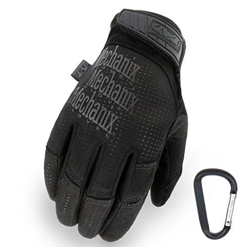 MECHANIX WEAR Tactical Vent 2017 Einsatz-Handschuh, extrem atmungsaktiv, touchscreenfähig & abriebfest + Gear-Karabiner, in Schwarz & Coyote / Größe S, M, L, XL (L, Schwarz)