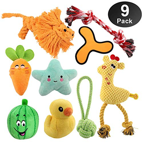 HomeMall Hundespielzeug,9 Stück Kauspielzeug Hund Spielzeug unzerstörbar Set Baumwollknoten Spielset Seil Interaktives Quietschspielzeug für Welpe Hunde