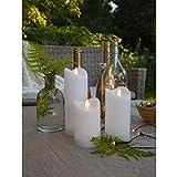 Kamaca Outdoor LED Kerzen im 3er Set batteriebetrieben inkl. Timer Kerze flackernd für Innen und Außen Bereich Outdoor (3er Set Outdoor Kerzen Weiss)