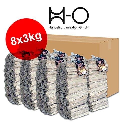 24kg Anzündholz Anfeuerholz Anmachholz Kamin Ofen Weichholz Kiefer Fichte getrocknet in 8 handlichen Säckchen zu je 3kg - versandkostenfrei