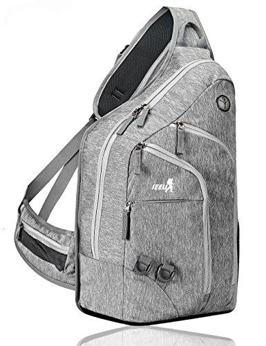 2-FNS Sling Rucksack, Brusttasche, Schultertasche für Damen und Herren Grau