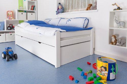 Kinderbett/Jugendbett'Easy Premium Line' K1/1h inkl. 2. Liegeplatz und 2 Abdeckblenden, 90 x 200 cm Buche Vollholz massiv weiß lackiert