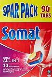 Somat 10 All in 1 Extra Sparpack, Spülmaschinentabs, für besonderen Edelstahlglanz, 90 Tabs