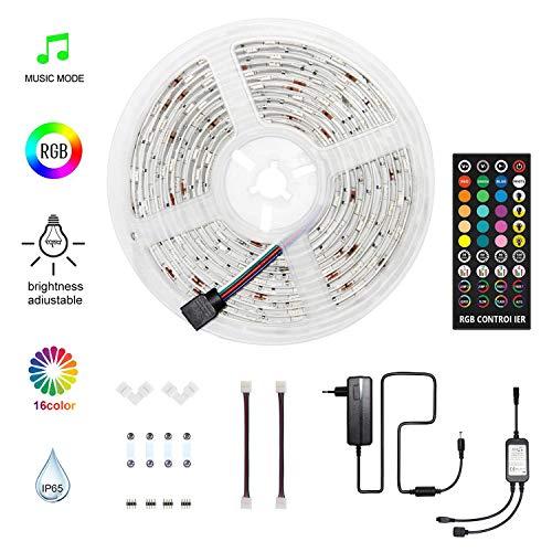 HoMii LED Streifen 5m - RGB LED Strips Sync mit Musik, IP65 Wasserdicht 150 LED 5050 SMD Farbwechsel LED Strip, 40 key Fernbedienung,16 single colors