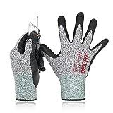 DEX FIT Level 5 schnittfeste Handschuhe Cru553, 3D Comfort Stretchy Fit, Power Grip, Pass FDA Food Contact, Durable Nitrilschaum, Smart Touch, Waschmaschinenfest, Gray Groß 1 Pair