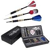 Dart-Pfeile Starter-Set | inkl. Steel-Darts, Soft-Darts für eine elektronische oder Kork Dartscheibe | EXTRA 6 Ersatzspitzen Tips für e-Darts | Verstellbares Gewicht