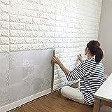 DODOING 3D Brick Muster Tapete, yibanban 3D Tapete Stereo Wandtattoo Papier Abnehmbare selbstklebend Tapete für Schlafzimmer Wohnzimmer moderne Hintergrund TV-Decor (10 Stück, Weiß)