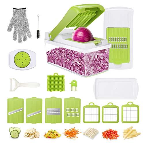 Gemüseschneider Obstschneider kartoffelschneider Zwiebelschneider, Gifort Mutischneider Gemüsehobel mit Messereinsätzen Handschuh zum Würfeln/Scheiben/Reiben/Hobeln/Raspeln