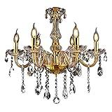 LeMeiZhiJia Kristall Kronleuchter Vintage Lüster Deckenleuchte Pendelleuchte Gold für Wohnzimmer Esszimmer Schlafzimmer (6 Flammig)