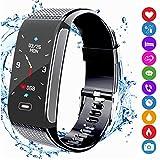 amazqi Fitness Tracker HR, Smart Armband Activity Tracker mit Farbdisplay Blutdruck Herzfrequenz Schlaf Monitor IP68 Wasserdicht für Android iPhone Erwachsene Kinder (Schwarz)