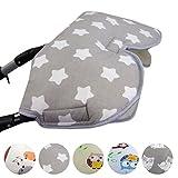 BAMBINIWELT universaler Muff/Handwärmer für Kinderwagen, Buggy, Jogger mit Wolle, Baumwolle (Grau Große Sterne)