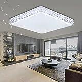 VINGO 60W LED Kristall Deckenleuchte Sternenhimmel Kaltweiß Eckig Wohnzimmer Deckenlampe 6000K-6500K Mordern Badleuchte