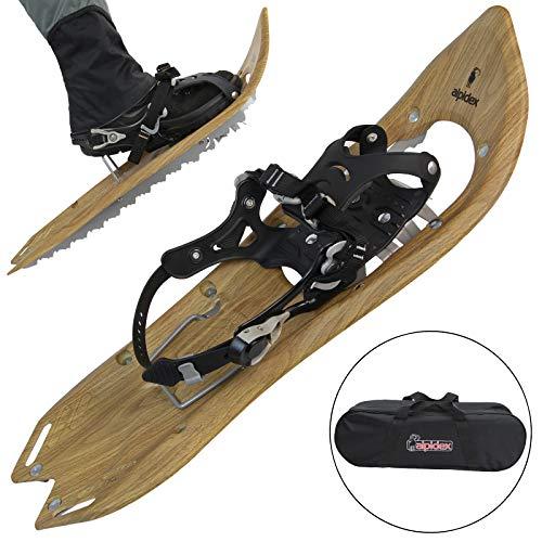 ALPIDEX Schneeschuhe Holzoptik Vintage mit Steighilfe und inkl. Tragetasche - geeignet für Schuhgröße 35 bis 45 ; wahlweise mit oder ohne Stöcke erhältlich, Farbe:Brown Timber - ohne Stöcke