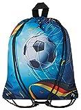 Aminata Kids - Kinder-Turnbeutel für Junge-n mit Sport Fussball Sport-Tasche-n Gym-Bag Sport-Beutel-Tasche hell-blau Weiss bunt Tor Fahne Deutschland