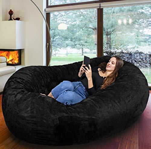 Der größte Sitzsack Europas - Riesiger Giga Sitzsack in Schwarz mit 1500l Memory Schaumstoff Füllung und Waschbarem Bezug - Gemütliches Sofa, Riesen Bett, Bean Bag für Kinder und Erwachsene